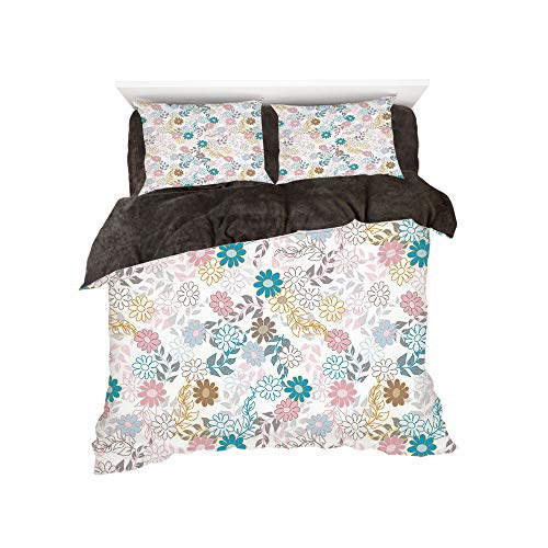 Spring Color Palette - All Season Flannel Bedding Duvet Covers Sets for Girl Boy Kids 4-Piece Full for bed width 4ft Pattern by,Floral,Cute Pastel Daisies and Leaves Blooming Retro Style Foliage Spring Color Palette Decorat