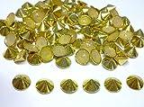 CraftbuddyUS 100pcs 10mm Gold Hotfix Cone Spike