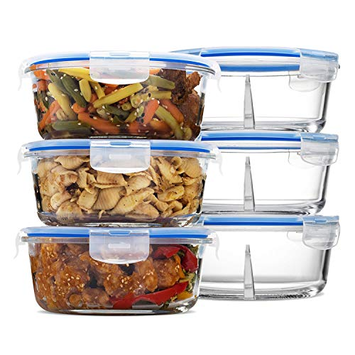 (Glass Round Meal Prep Containers - 3 Divided Compartments with Vented Snap Locking Lids BPA Free (32 Oz | 4 Cups)- Gift Set (3 Pack)
