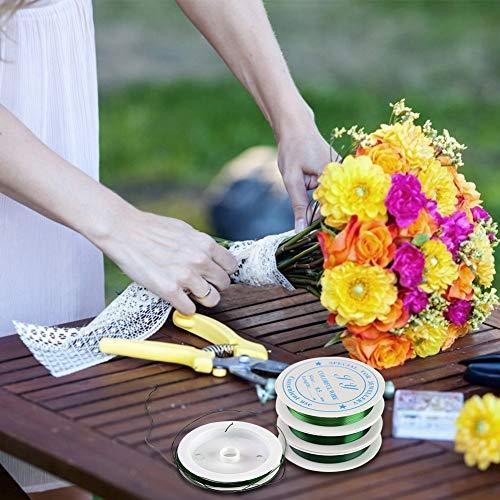 HAKACC Blumendraht, 3 Rolle 0,5 mm Basteldraht Grün Blumenwickeldraht Blumendraht Dekoration für Bouquet Blumen DIY Kunsthandwerk