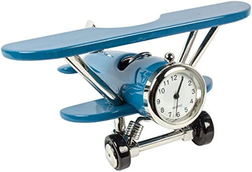 Design Gifts Miniature Metal Airplane Clock Blue