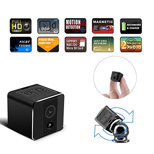 Mini Spy Camera Wireless Hidden Camera,Full HD 1080P Cop Spy Nanny Cam with Night Vision and Motion Detective Portable Small Video Body Camera for Home,Car, Security and Office (No WiFi Needed)