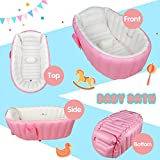 Baby Bath Tub Inflatable Large Capacity Plastic Air Swimming Pool Kids Thick Foldable Shower Basin, Pink