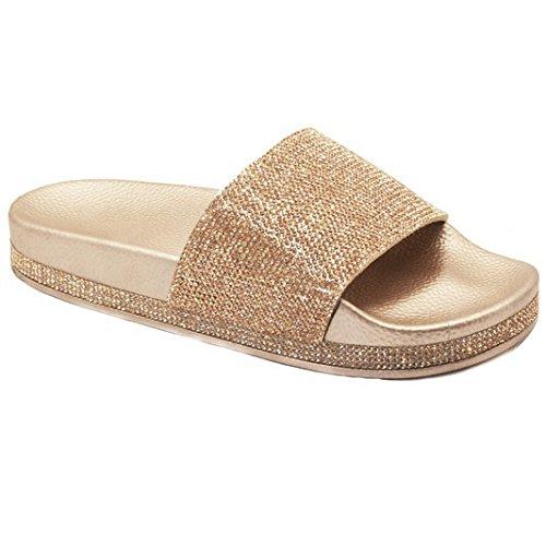 Trends SNJ Womens Glitter Rhinestone Strap Slide Slip On Slipper Sandals