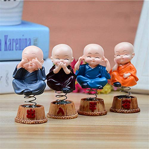 - Haomao Four No Monk Resin Figurine Statue Crafts Cute Small Car Decoration Kung Fu Monk Art Craft Home Living Room Decor Souvenirs