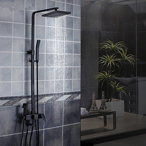 MMYNL Badarmaturen thermostatische Dusche Set Badewanne /& Dusche Systeme Voll Kupfer K/örper Vier Schwarze Quadrat Matt Duschkopf Duscharmaturen