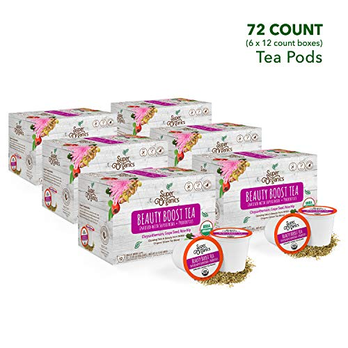 Super Organics Beauty Boost Green Tea Pods With Superfoods & Probiotics   Keurig K-Cup Compatible   Beauty Tea, Skin Care Tea   USDA Certified Organic, Vegan, Non-GMO Natural & Delicious Tea, 72ct by Super Organics (Image #2)