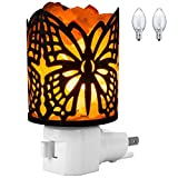 Salt Night Light, FilFom Natural Himalayan Salt Lamp in Butterfly Design Metal Basket with On and off Switch 2 bulds included