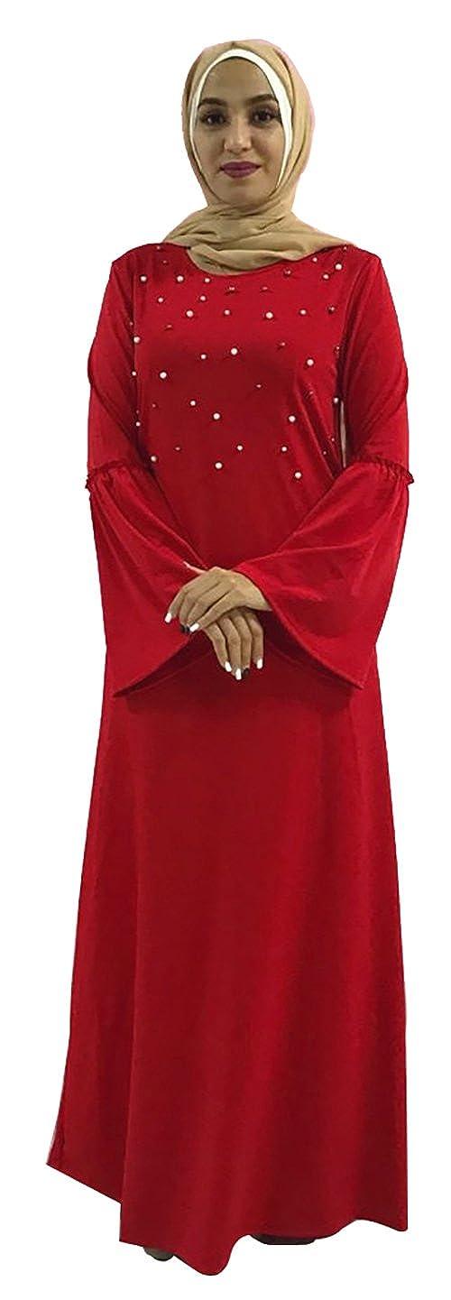 YI HENG MEI Women's Modest Muslim O-Neck Bell Sleeve Beads Solid Maxi Abaya Party Dress LR140