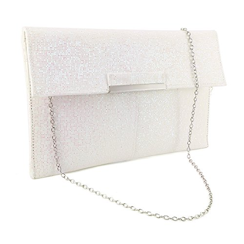 PARTY SHIMMER CLUTCH WOMENS BAG PROM Glitter LADIES PARTY EVENING HANDBAG White GLITTER STYLE OYYHq51