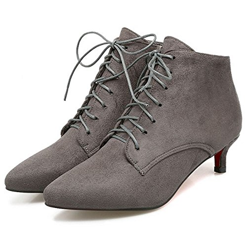 Bottes Grey Femmes Lacets Automne Pointu Taoffen Talon A Bout Petit qPH57OA