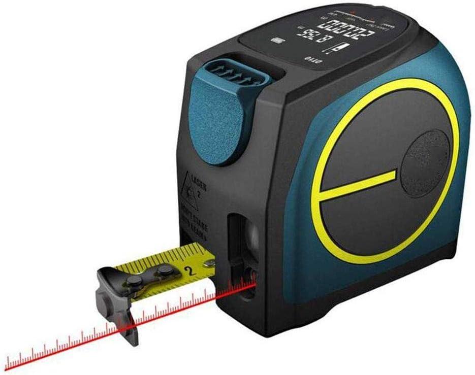KJRJT Cinta métrica 2-en-1, Medición silencioso telémetro USB Recargable Color de la Pantalla LCD, medición de Distancia, IP54 a Prueba de Agua estándar, Longitud de Cinta, Recubrimiento de Nylon for
