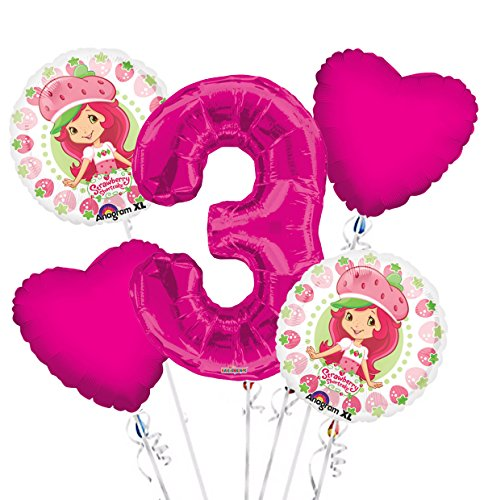 Strawberry Short Cake Balloon Bouquet 3rd Birthday 5 pcs - Party Supplies ()