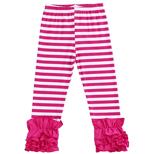 Toddler Girls Icing Ruffle Pants Kids Long Boutique Triple Ruffled Leggings Pants Little Big Sisters Solid Color Elastic Wast Tights Trousers Baby Cotton Layers Bottoms Activewear Hot Pink -