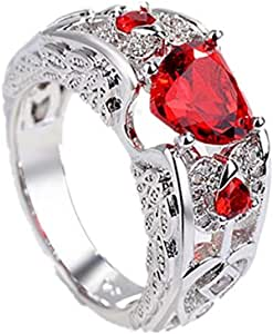 J.Rosee Swarovski Element Onyx Heart Love Ring for Women Size 9