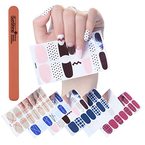 WOKOTO 1Pc Nail Buffer File With 6 Different Fashionable Nail Polish Decal  Sticker Self Adhesive Lines Dotting Lattice Pattern Nail Wraps For Women
