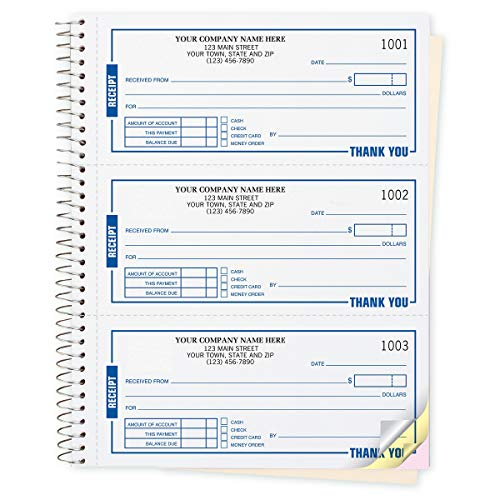 CheckSimple Payment Receipt Forms - Customized 3-Per-Page Wire-Bound Book, 2-Part, White (500 ()