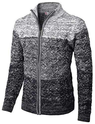 (H2H Mens Casual Slim Fit Twisted Knit Zip up Cardigan with Gradation Color NAVYWHITE US 3XL/Asia 4XL (KMOCAL0133))