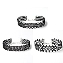 3 Pcs Women Girls Hollow Out Stretch Velvet Tattoo Lace Choker Necklace Set by Kimloog