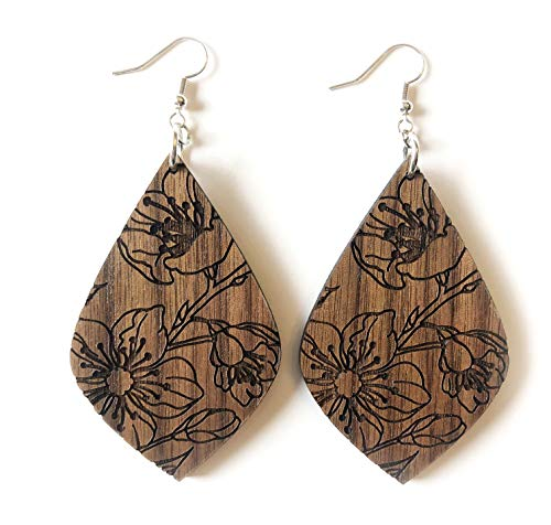 Grounded Goods Design Floral Teardrop Wood Earrings (Brown) ()