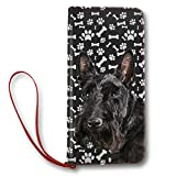 Women's Leather Wallet Long Lady Clutch Purse with Scottish Terrier Dog Paw