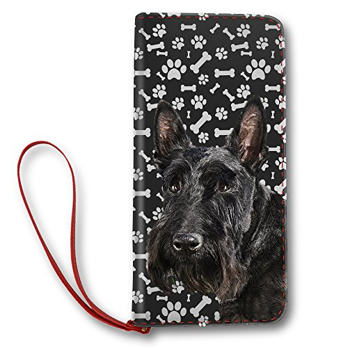 Women's Leather Wallet Long Lady Clutch Purse with Scottish Terrier Dog Paw by NIWAHO