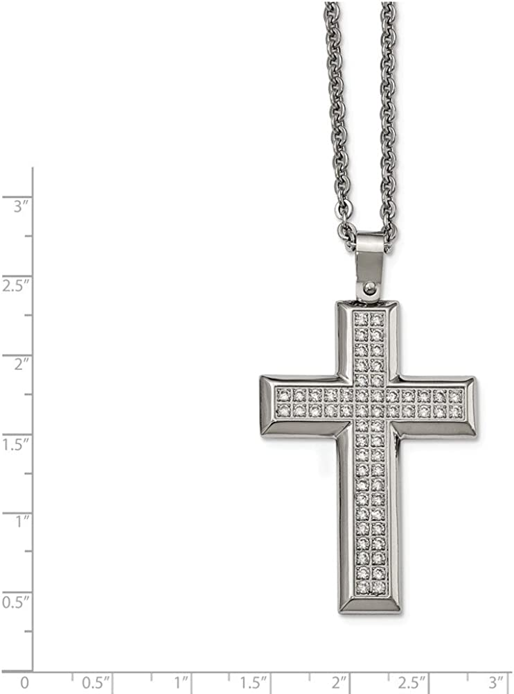 Jewelry Necklaces Necklace with Pendants Stainless Steel Polished CZ Cross Necklace