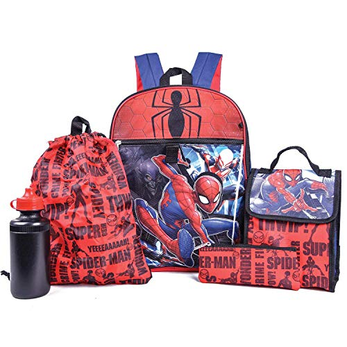 Marvel Spiderman Backpack Combo Set - Marvels Spiderman 5 Piece Backpack School Set (Red/Blue)