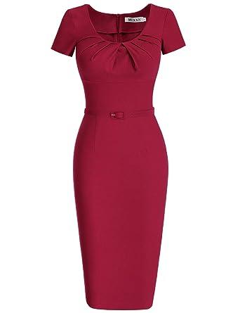 MUXXN Women s Retro Scoop Neck Ruched Tea Length Cocktail Dress (S Burgundy) d50ee3e64