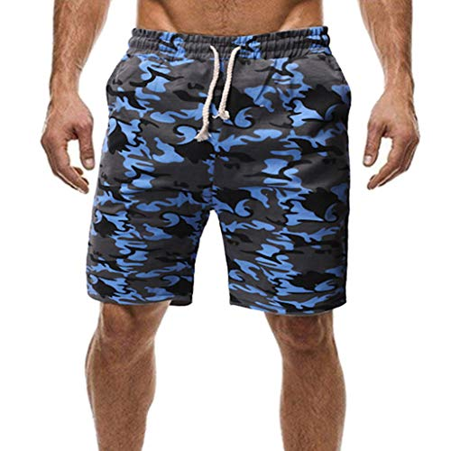 ZEFOTIM Casual Shorts for Fashion Men's Sport Pocket Casual Comfortable Sweatpants Drawstring Sport Shorts(Blue,Medium) ()