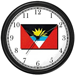 Flag of Antigua - Antiguan Theme Wall Clock by WatchBuddy Timepieces (White Frame)