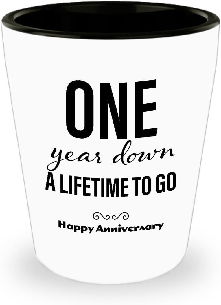 Amazon Com 1st Anniversary Gifts For Him Shot Glass Wedding Anniversary Gifts For Him 1 Year Down Unique Cute For Boyfriend Husband Men Friend Marriage Shot Glasses