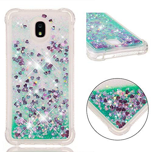 Galaxy J7 Case Clear Cute AIKIN Glitter Bling Floating Flowing Liquid Sparkle Shockproof Waterfall Soft TPU Girly Luxury Quicksand Case Compatible with Samsung Galaxy J7 2018 US Version (Mint Love)