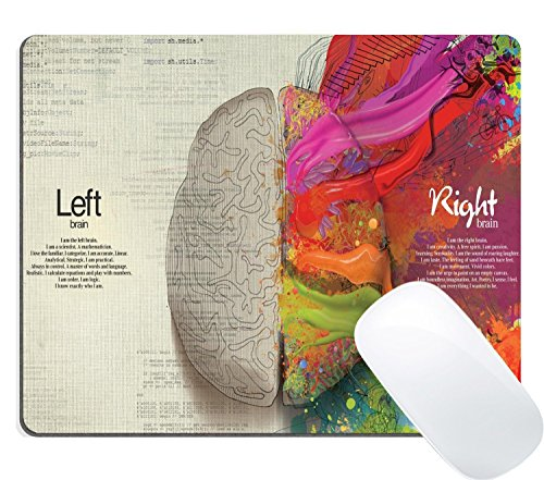 Wknoon Gaming Mouse Pad Custom, Abstract Science Thinking Creative Artwork Funny Left Right Brain Quotes