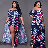 Wensltd Women Plus Size Jumpsuit Romper Short Trousers Bodycon Clubwear Playsuit Long Dress (M, Dark Blue)