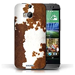 KOBALT? Protective Hard Back Phone Case / Cover for HTC One/1 M8 | Cow/Brown Design | Animal Fur Effect/Pattern Collection