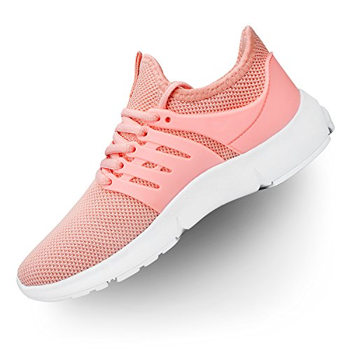 Troadlop Womens Running Sneakers Ultra Lightweight Breathable Mesh Walking Athletic Shoes Pink 7 B(M) US by Troadlop
