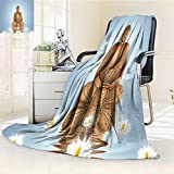 AmaPark Digital Printing Blanket Statue in Meditation Lotus Lilly with Reflection on Water Tranquility Blue White Summer Quilt Comforter