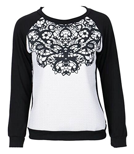 New Papijam Womens Lace Splice Crewneck Long Sleeve Warm Pullover Sweatshirt Tops free shipping