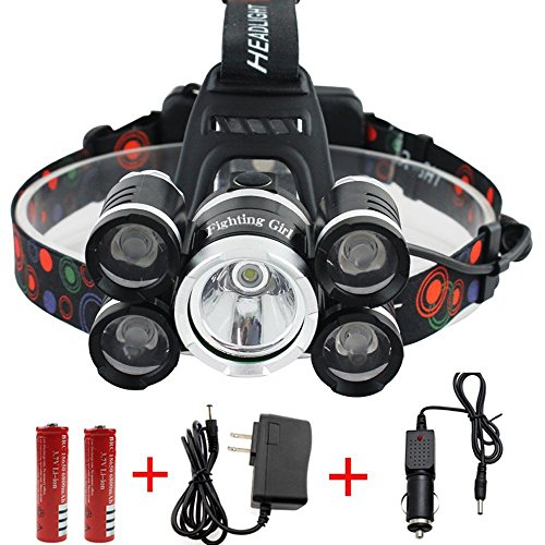 Waterproof 12000 Lumen 5 Led Headlamp XML T6+4Q5 Head Lamp Powerful Led Headlight,18650 Rechargeable Batteries, Car Charger, Wall Charger and USB Cable (Drop Complete Head)