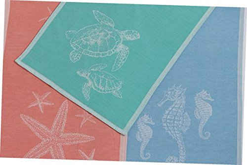 DII Design Imports Sea Life Soft Cotton Jacquard Kitchen Dish Towels Set of 3 ~ Sea Turtles ~ Seahorses ~ Starfish ~ Pink Blue Green by Design Imports