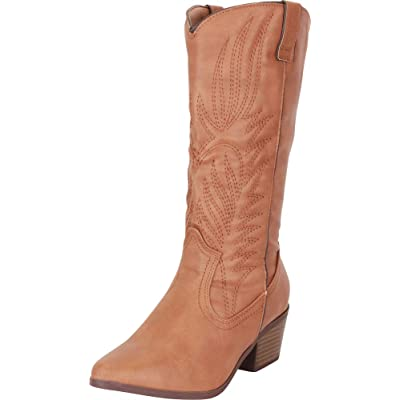 Cambridge Select Women's Western Pointed Toe Embroidered Stitched Stacked Heel Mid-Calf Cowboy Boot | Shoes