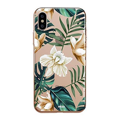 Milkyway Clear Case Compatible with iPhone Xs/X Leaves Jungle Monstera Design Protective Back Case Cover for Apple iPhone X/XS [Supports Wireless Charging] - ()