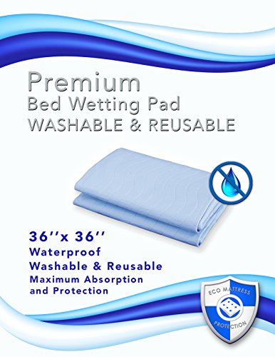 2 Ultra Soft Premium Bed Wetting Pads- Light Blue 36 X 36. Waterproof Sheet Protector for Adults, Seniors, Infants and Toddlers. Winner of the 2015 Peoples Choice Award.