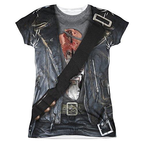 TERMINATOR II/T800 COSTUME (FRONT/BACK PRINT)-S/S JUNIOR POLY (Sarah Connor Terminator 2 Costume)