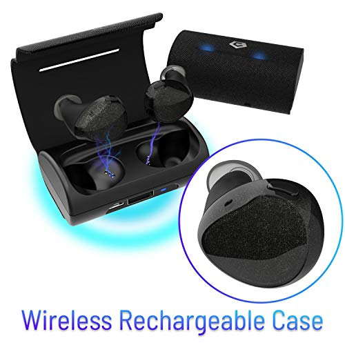 Cobble Pro BT 5.0 True Wireless Earbuds with Qi-Enabled Wireless Charging Case 1300mAh, Auto Power On and Pairing In-Ear Stereo Headphones Earphones, Dual Built-in Mic, 30H Playtime One Button (Best Insten Bluetooth Headphones Wirelesses)
