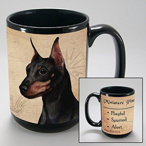 Dog Breeds (L-Z) Miniature Pinscher, Black and Tan 15-oz Coffee Mug Bundle with Non-Negotiable K-Nine Cash by Imprints Plus (116) (Miniature Pinscher Accessories)