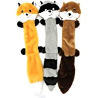 Fox, Raccoon & Squirrel Squeaky Plush Pet Toy Set, 3 Pack Dog Toys, No Stuffing Squeaky Dog Toy