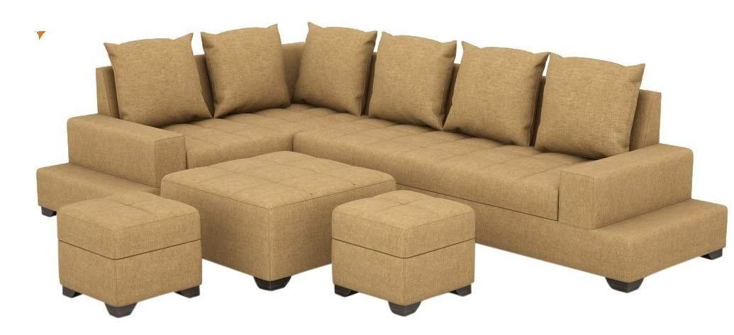 Zikra's Bermount Light Brown Sal Wood 6 Seater L-Shaped Sofa