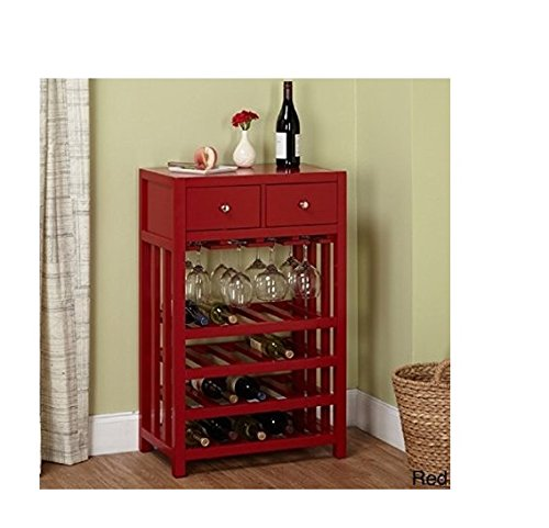 Wood Wine Cabinet Tower with Two Drawers for Your Accessories by Simple Living Products